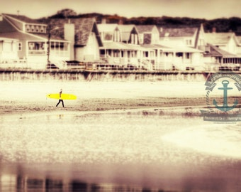 Yellow Surfboard Good Harbor Surfer Beach Fine Art Photograph At Checkout, Choose Lustre Print or Gallery Wrapped Canvas