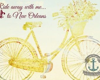 New Orleans Bicycle Vintage Map French Decor At Checkout, Choose Lustre Print or Gallery Wrapped Canvas