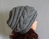women slouchy - beanie hat - Slouch Beanie - Large hat  chunky hat - Chunky Knit Winter Fall accessories Knit Cable hat  - GRAY or any color