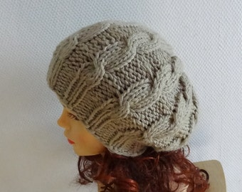 Hand Knit cable Hat beret women cable knit hat slouch women Slouchy Beanie  Knit Hat Chunky Knit Winter Fall Accessories Slouchy Knitted #3