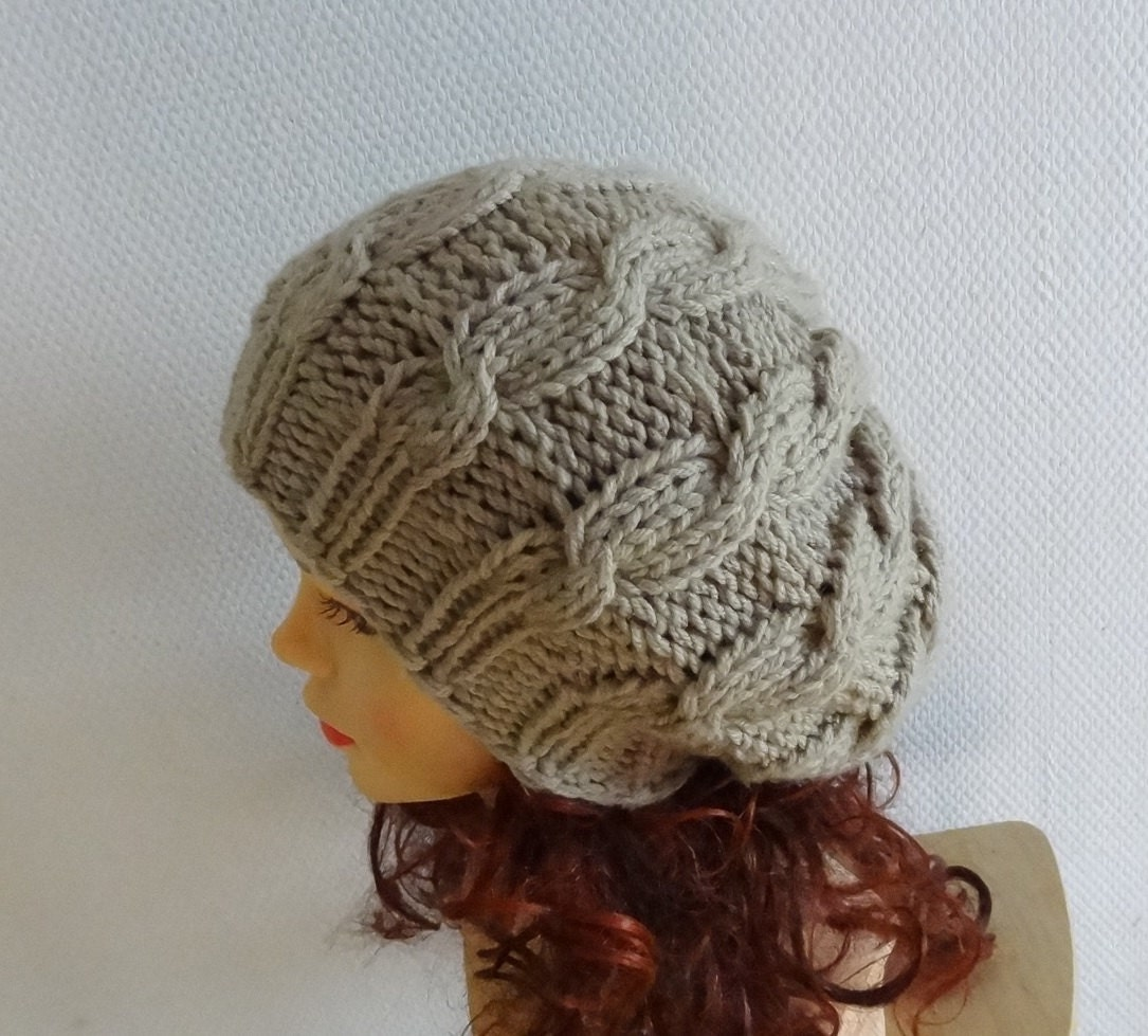 Hand Knit cable Hat beret women cable knit hat slouch by Ifonka