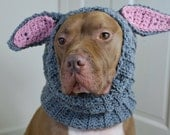 Crochet Dog Snood Grey Rabbit MADE TO ORDER