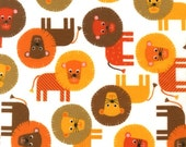 """End of Bolt - FLANNEL - Brown Lions from Robert Kaufman's Urban Zoologie - 13""""x42"""""""