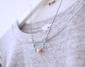 Dainty Tribal Cream And Turquoise Color Beads With Antique Copper Chain Necklace
