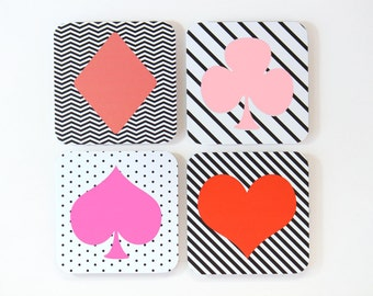 Bachelorette Party Coasters Pink Black Red Coaster Heart Club Spade Diamond Vegas Party Girls Casino 21st Birthday Party Colorful / Set of 4