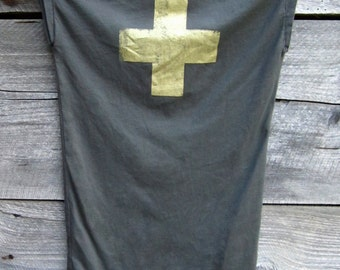 organic cotton V neck cap sleeve t shirt + / first aid cross print gold on slate