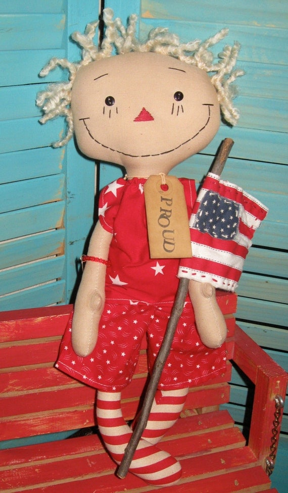 "Americana Primitive Prim Raggedy Folk Art Doll 16"" White Haired With Prim Flag Set FAAP HAFAIR OFG"