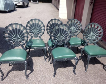Set of 6 as is vintage grotto aluminum shell chairs