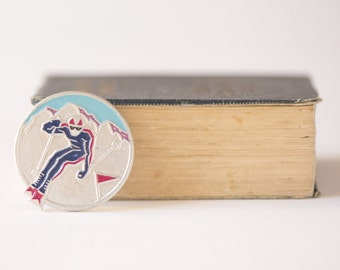 Vintage winter sport pin, downhill skiing badge, silver light blue Soviet pin, gift for skier