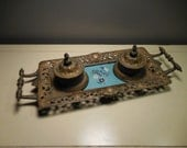 Antique Cast Iron Ink Well Tray with Porcelain Floral insert