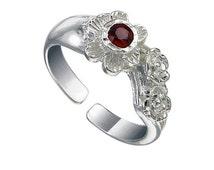 Red Garnet Gemstone Toe Ring, Flower Toe Ring crafted with 925 Sterling Silver