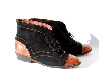 size: 5 Black & Brown Suede Ankle Boots