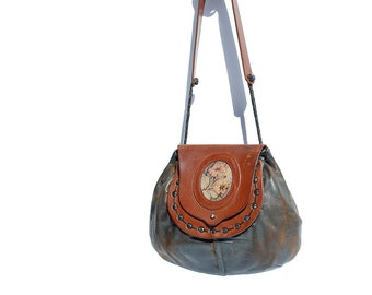 Distressed Leather Bucket Shoulder Bag