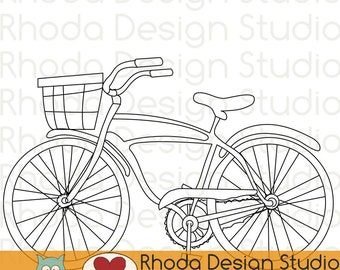 Retro Bike With Basket Digital Stamp Clip Art Vintage Bicycles