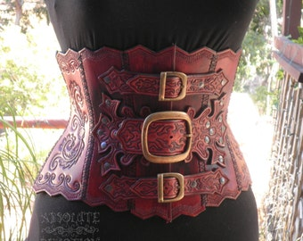 Ophelia - Steampunk Hand Tooled Hard Leather Underbust Corset Armor - Made to Order  - Absolute Devotion