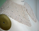 vintage tan handmade knit collar with pearls and silver rhinestones , crocheted trim , 1950's,1960s,1970's