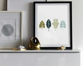 "Art Print - ""Lovely Leaves"" -  Silhouette Art - 8x10"