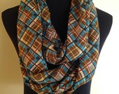 New Plaid Striped Print Brown, Teal, Yellow, Tan and Blue Infinity Scarf