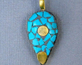 10% off SALE Tibetan Brass and Turquoise Mosaic Pendant- Brass and Turquoise Oil Lamp Pendant (S53B10-02)