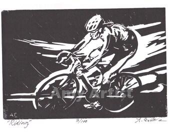 Riding - Linocut on Acid Free Paper
