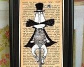 Folk Art: Mustache Man, book lover, small framed print, Whimsical Art, Folk Art, Wall Art, Wall Decor, black, brown, book, mustache