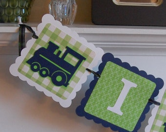 Train I am 1 Banner, Train Birthday Banner, Train Decorations, Choo Choo, Navy, Lime White