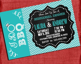 "Printable ""I Do"" BBQ Rehearsal Dinner Wedding Shower or Engagement party Invitation Chalkboard Style"