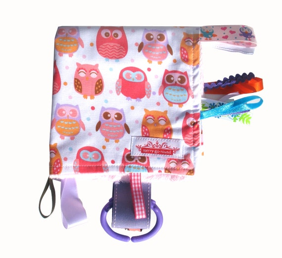 Taggy Snuggly TAG TOY MINI Blanket .  Baby Girls Comforter  . Baby  Shower / Christmas Gift - Pink Hoot Owls  .  Made in Australia