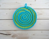 Hot green and hot blue handmade crochet potholder,  double layer, hotpad with lime green and blue, trivet, READY TO SHIP