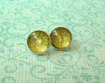 20% OFF -- Glittering Mustard Yellow Green Cabochon Stud Earrings/Great for Party,beautiful gift for her