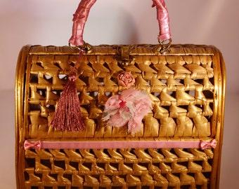 """vintage french handbag 1960 's  """" Pique-nique à Versailles"""" unique piece  french  vintage"""