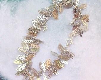 Silver Leaf Bracelet, Silver Bracelet, cha cha bracelet, leaves, sterling silver, rhodium, filigree, filigree, matte, bridal, weddings
