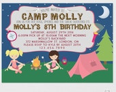 Camping Invitation, Camp Invitation, Camping Birthday Party, Camping Invites, Camp Party, Sleepover Invitation, Campout Party, Printable