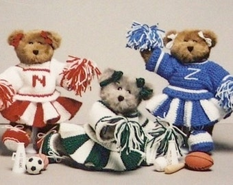 Pdf Pattern - GO TEAM GO! Easy Cheerleader Outfits to Knit or Crochet. Cheerleader Dress Up Bears! Team Spirit, College, Highschool,