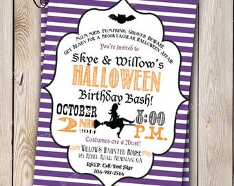 Halloween Party Invitation Halloween Costume Party Halloween Birthday Party Invitation Witch Customizable 5x7 Invitation