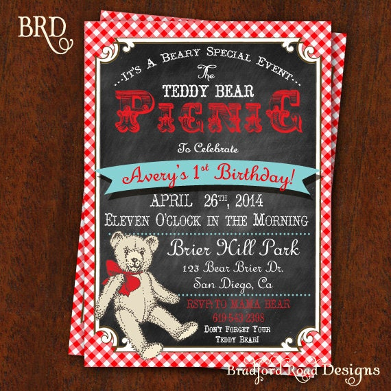 Teddy Bear Picnic Invitation Chalkboard Red and White – Teddy Bears Picnic Party Invitations