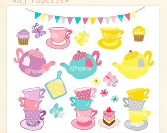 Tea party Clip art,  scrapbooking ,Tea clip art, tea pot clip art,tea cup, bakery, instant download