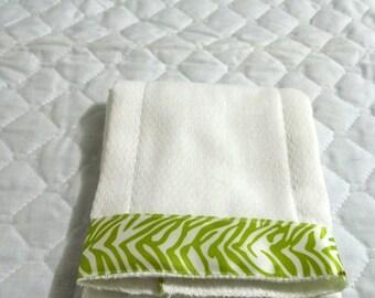 Burp Cloth- Lime Green Zebra  Ribbon Cotton Cloth Diaper