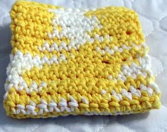 Crochet Dish Cloth Hot Pad Daisy Ombre