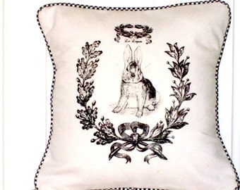 "shabby chic, feed sack, french country, vintage  french rabbit graphic with gingham check welting 14"" x 14"" pillow sham."
