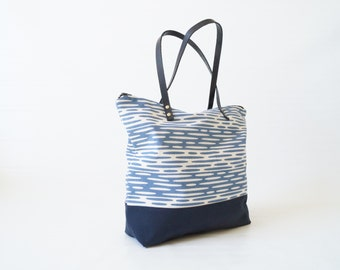 Shopping Tote Bag Featuring Leather Handles and Original Screen Printed Organic Fabrics