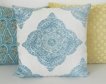 Aqua medallion ikat decorative pillow cover