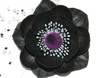 Leather flower brooch! Leather anemone, handmade leather flower black!