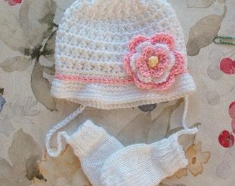 Baby Hat and Mittens, Hat and Mitten Set, Girls Baby Hat, Winter hat, girl,Mittens, Thumbless Mittens, Mittens on string,  Newborn/24 Months