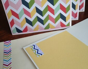 Note cards, notecards, chevron note card, chevron notecard, notecards set of 4, blank cards, chevron cards