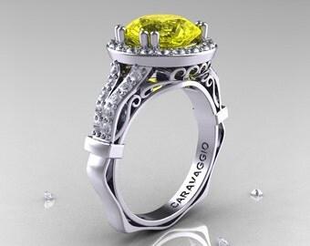 Caravaggio 14K White Gold 3.0 Ct Yellow Sapphire Diamond Engagement Ring, Wedding Ring R620-14KWGDYS