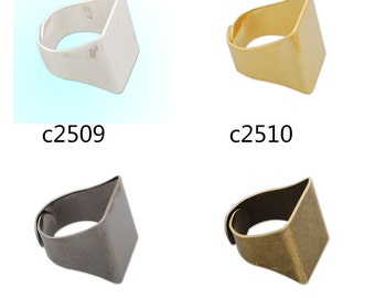 20PCS Adjustable Ring Base Setting  With 18x20mm Pad, Brass Rings