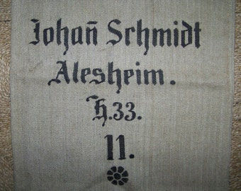 Antique german grain sack , linen, hand woven, printed  * J
