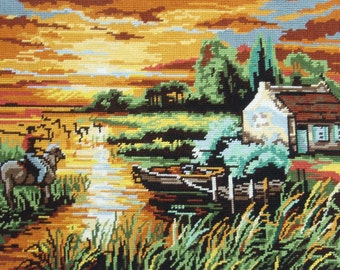 Vintage French needlepoint tapestry canvas embroidery - Camargue landscape