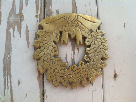 Brass Kitchen Wall Decor : Christmas brass wreath trivet or wall hanging by